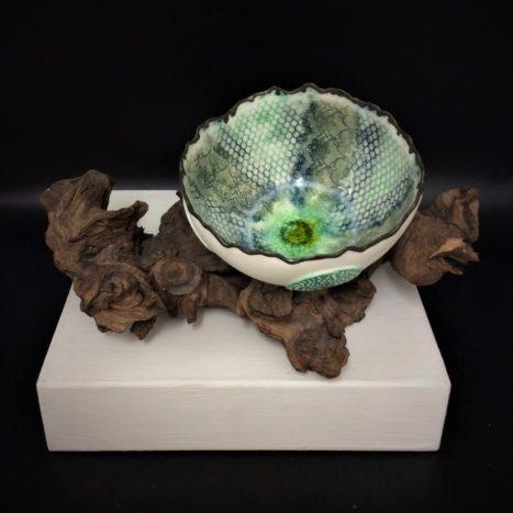 dark green lace bowl