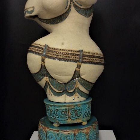 'goddess' original scuplture in stoneware (turquoise and gold lustre decoration)
