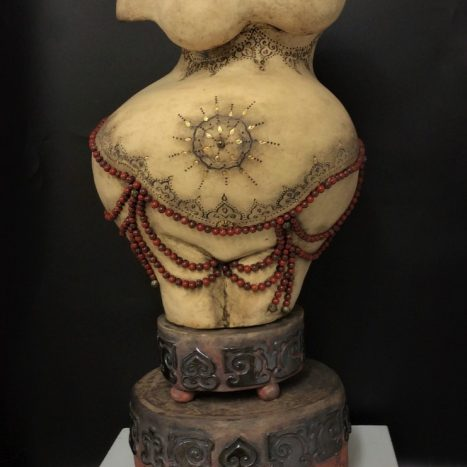 'goddess' original scupture in earthenware (red jasper beads and gold lustre decoration