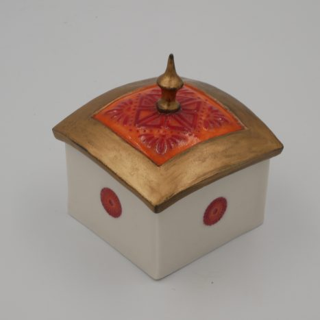 orange and gold 'spire' box