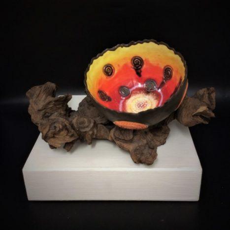 orange spiral bowl