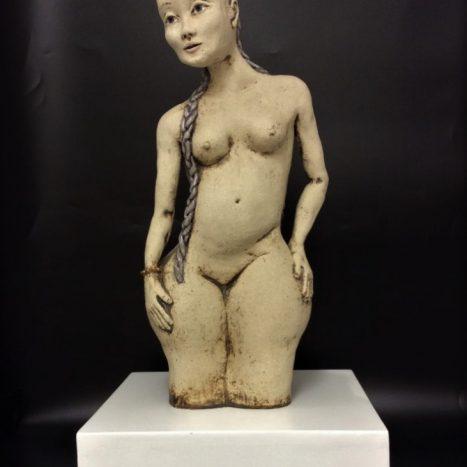 'plaited girl' original sculpture in stoneware (a)