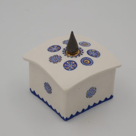 royal blue and gold lustre 'spire' box